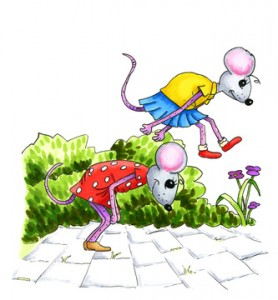 Watercolor illustration of playing mouse children at the street